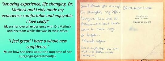 Some of the testimonials from Dr. Matlock's patients